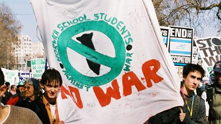 Norwich School students protesting in 2003