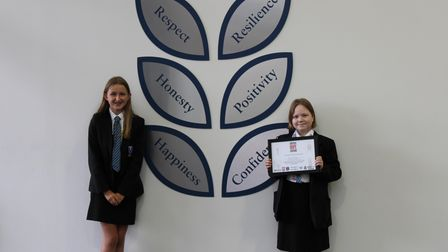 Thomas Gainsborough School's Grace Secker with Nel, who nominated her