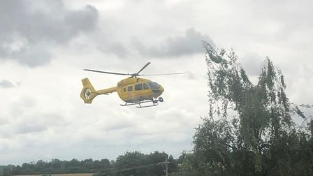 The East Anglian Air Ambulance has landed in Framlingham