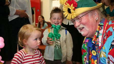 Children's entertainer Justso James entertaining youngsters at the opening of Mundesley SureStart Ce