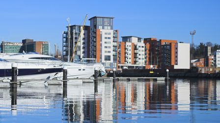 Ipswich marina and waterfront with modern trendy apartment buildings overlooking the marina