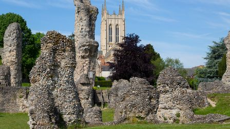 The abbey ruins at Abbey Gardens in Bury St Edmunds