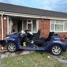 End terrace crash at Fleming Court, March, where a Peugeot careered into it.