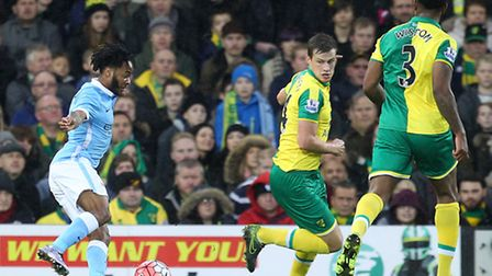 Raheem Sterling twists and turns Ryan Bennett inside out in Norwich City's 3-0 loss to Manchester Ci