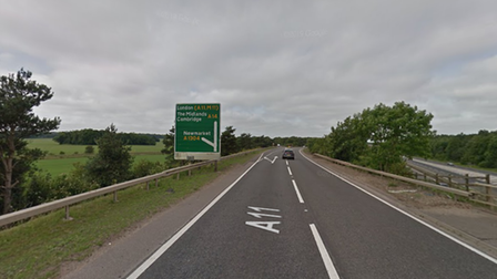 The collision happened on the A11 at Newmarket