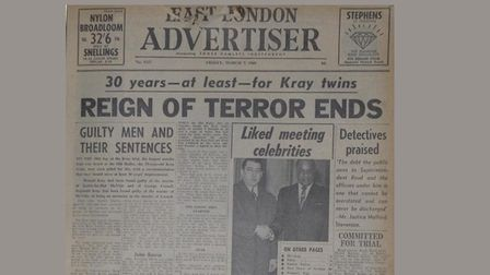 How the East London Advertiser reported the Krays' downfall in March 1969