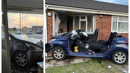 Scene in March on Friday when a woman blacked out and crashed into a bungalow.
