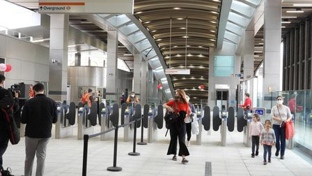 Commuters using Whitechapel's new ticket hall for the first time