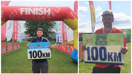 Nick Winterton (pictured) at the finish line of his ninth and tenth 'ultra-challenge' hikes.