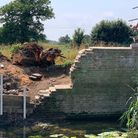 The brick abutments to the footbridge over the River Gipping