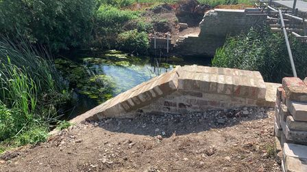 Work is progressing on the brick section of the bridge