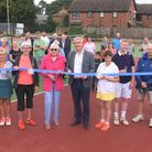MP Steve Barclay is pictured with the longest serving member of the Wisbech Tennis Club, Margaret Mee, to cut the ribbon.