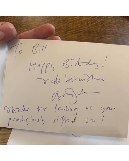 East Cambs Councillor Bill Hunt with his birthday card from Prime Minister Boris Johnson