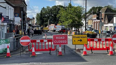 'Road Closed' signs up in Broad Street, March, today as engineers search for a suspected gas leak.