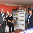 (L-R) MP Steve Barclay, Nicola Christy, Gary Christy and Steve Thomas at the opening of March's first community fridge.