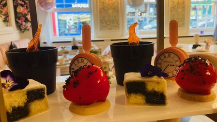 A selection of the cakes at Tea at the George in Colchester