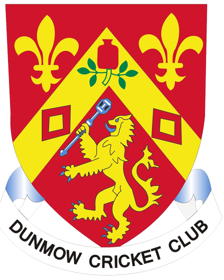 Dunmow Cricket Club's shield with red and yellow colours and the words Dunmow Cricket Club