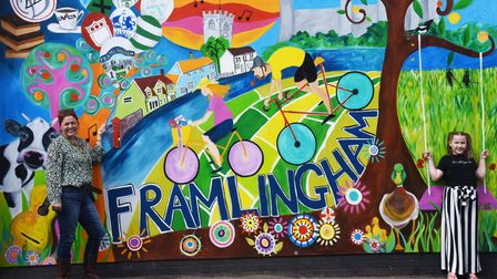 A colourful mural has been painted next to 221b cafe in Framlingham by Verity Watkins. The piece was