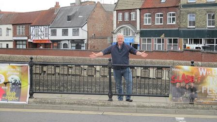 Peter Freeman (pictured) standing where there was once a WisWIN banner, linked to objection of an incinerator in Wisbech.
