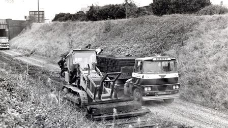 Timber sleepers being removed from a Gorleston cutting on the 10-mile Yarmouth South Town to Lowesto