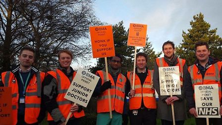 Junior doctors from James Paget University Hospital are picketing outside the hospital as part of th
