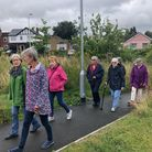 Neighbours from Sudbury completing a one-mile walk in preparation for the 25 for Active Suffolk challenge