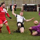 Action from Swaffham's (black and white) 5-2 defeat against Godmanchester.