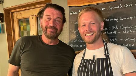 Nick Knowles enjoyed a meal at The Bell in Carlton Coleville after filming in the area.