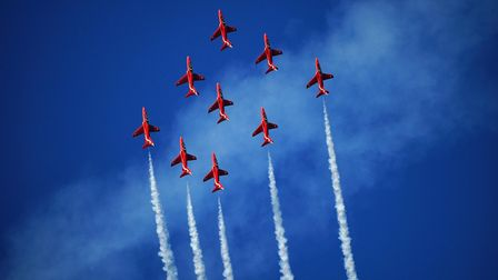 The Red Arrows will be flying over parts of Cambridgeshire today, Wednesday, August 25.