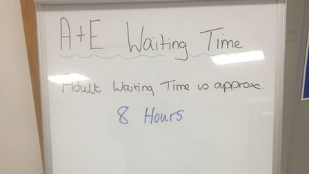 The board indicating possible waiting time to patients at A&E at the James Paget on Tuesday, August 24.
