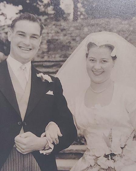 Trevor and Norah Ball on their wedding day in 1958