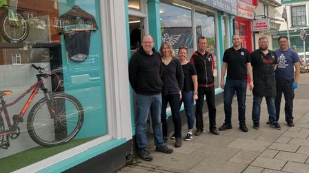 Staff outside Elmy Cycles in Ipswich