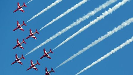 The Red Arrows performing at the Duxford Air Show in 2015