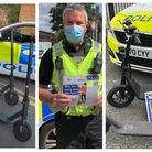 PC Mark Wootton explains the law over e-scooters and some of the e-scooters confiscated by Cambridgeshire Police.