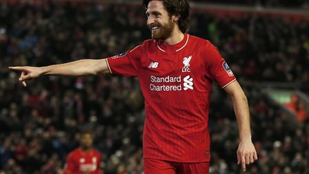 Liverpool's Joe Allen celebrates scoring his side's first goal of the game during the Emirates FA Cu