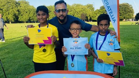 Certificates for youngsters taking part inVicky Park's summer cricket fest