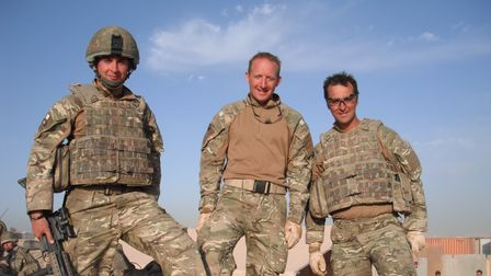 Maj Mark Nicholas (centre) and colleagues in Helmand in 2010