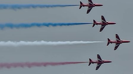 Red arrows flying over St Ives