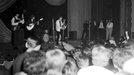 The audience decided to join the Rolling Stones on stage at the Gaumont Ipswich in October 1964
