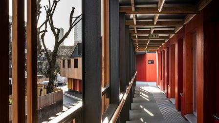 Top-level timber walkway at Poplar Works