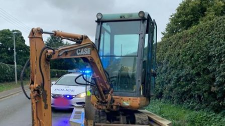 Police have recovered a stolen digger less than five minutes after it was taken in Downham Market.