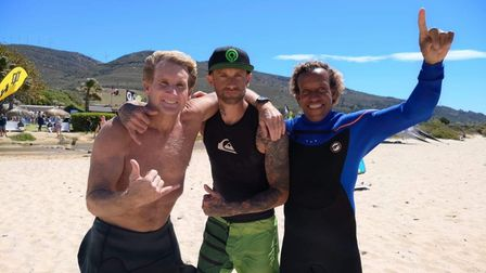 Darren (centre) with windsurfing legend Robby Naish (left) and Olympic windsurfer Brian Talma (right)