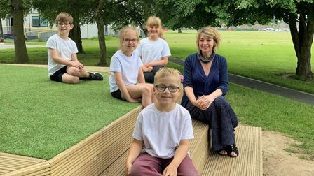 Headteacher Isabel Stubbs and pupils at Cecil Gowing Infant School in Sprowston