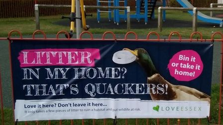 A Love Essex banner in front of a children's playground: Litter in my home? That's quackers!