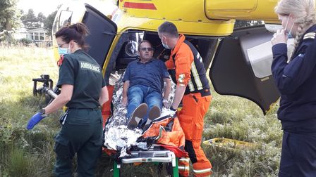 Terry Hawes, from Hainford, was airlifted to hospital after suffering a major heart attack.