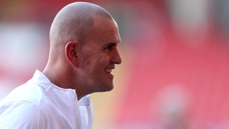 AFC Wimbledon manager Mark Robinson prior to the Carabao Cup first round match at The Valley, London