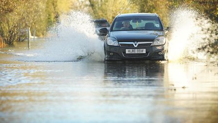 The A1101 at Welney is closed due to flooding. Picture: Ian Burt