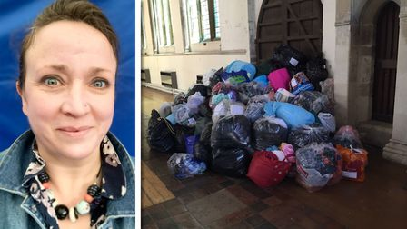 Jen O'Reilly-Turner, fromRefugee Help Sudbury, and donations the group collected for Syrian refugees in 2015.
