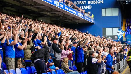 Town fans celebrate going 2-0 up.
