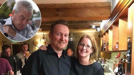 Stephen and Julie Penney, of the Swan Inn in Monks Eleigh, are happy Alan Rogers (inset) has been jailed